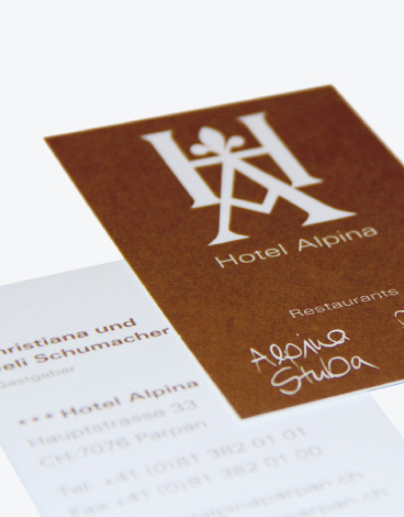 Hotel Alpina Parpan, Corporate Design, Visitenkarte