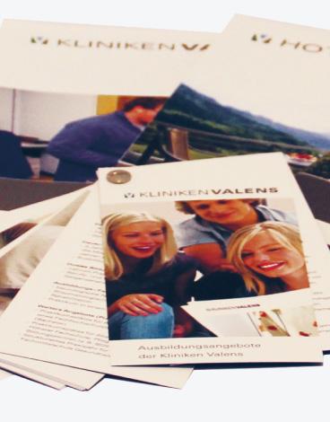 Kliniken Valens, Valens / Walenstadtberg, Corporate Design, Korrespondenz, Flyer und Broschüren